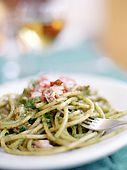 Italy, Sicily, Stromboli island, pasta with almond, basil and tomato sauce(pesto trapanese), La locanda del BarbablË
