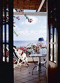 Italy, Sicily, Stromboli island. The terrace of  La Sirenetta Hotel