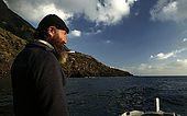 Italy, Sicily, Stromboli island. Fisherman in Ginostra village.
