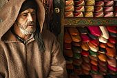 Leather trader in the medina, Fes, Morocco