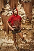 Portrait of tannery worker, the tanneries, Fes, Morocco