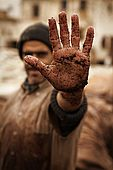 Workers hand, the tanneries, Fes, Morocco