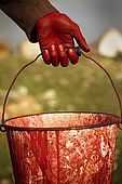 Hand and bucket of a dyer, the tanneries, Fes, Morocco