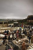 Traders at the sskin market, overlooking the city of Fes, Morocco