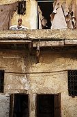 Taking a break, the tanneries, Fes, Morocco