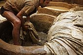 Washing newly arrived skins, the tanneries, Fes, Morocco