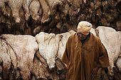 Old trader at the skins market, Fes, Morocco