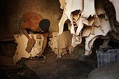 Smoothing the hides, the tanneries, Fes, Morocco