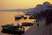 Sunset over Varanasi's main ghat.