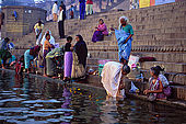Bathing in the Ganges river at dawn along tha Dasaswamedh ghat, Varanasi's main ghat.