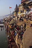 Bathing in the Ganges river in the Dasaswamedh Ghat area, Varanasi's main ghat.