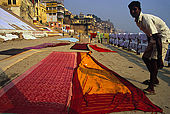 Drying saris at Varanasi's dhobi ghat (laundry ghat).