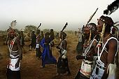 Gerewol festival, Niger. Tribesmen returning to the camp at the end of the dancing