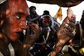 Gerewol festival, Niger. Young men preparing for the traditional dance ritual.