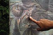 Mappa dei sentieri intorno a La Soufriere, Parc National de la Guadeloupe, Guadeloupe (Basse Terre), French West Indies