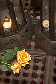 Interior detail of Riad El Yacout, traditional Moroccan riad, Fes, Morroco. Property released.