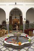 Roses, interior of Riad El Yacout, traditional Moroccan riad, Fes, Morroco. Property released.