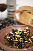 Beef tajine dish with apricots and almonds, Riad El Yacout, traditional Moroccan riad, Fes, Morroco. Property released.
