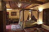 Bedroom interior of Riad El Yacout, traditional Moroccan riad, Fes, Morroco. Property released.