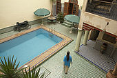 Swimming pool, Riad El Yacout, traditional Moroccan riad, Fes, Morroco. Property released.