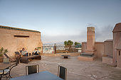 Terrace and vie of Fes, Riad Larrousa, traditional Moroccan riad, Fes, Morocco. Property released.