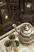 Green tea and tea set detail, Riad El Yacout, traditional Moroccan riad, Fes, Morroco. Property released.