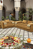 Interior courtyard of Riad El Yacout, traditional Moroccan riad, Fes, Morroco. Property released.