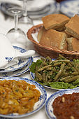 Traditional Moroccan salad dishes, Riad El Yacout, traditional Moroccan riad, Fes, Morocco. Property released.