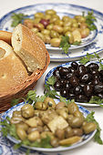 Olive dishes, Riad El Yacout, traditional Moroccan riad, Fes, Morroco. Property released.