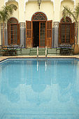 Swimming pool detail, Riad El Yacout, traditional Moroccan riad, Fes, Morocco. Property released.