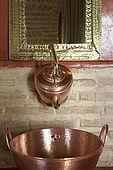 Bathroom interior, Riad Larrousa, traditional Moroccan riad, Fes, Morocco. Property released.