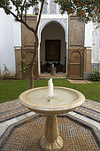 Courtyard fountain, Riad Larrousa, traditional Moroccan riad, Fes, Morocco. Property released.