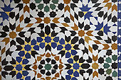 Courtyard tile detail, Riad Larrousa, traditional Moroccan riad, Fes, Morocco. Property released.