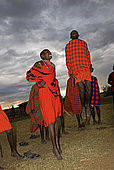 Traditional Masai dance in the centre of the circular village