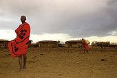 The Masai in their village