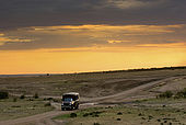 A truckload of tourists returning at dusk after a safari in the Mara