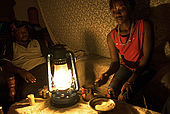 Betty,a Masai guide, at home with Mwura,also a Masai guide, after a day's work in the National Reserve