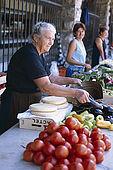 Balkan, Adriatic sea coast    Republic of Montenegro    City of Kotor, Market,    eggplants    Model Release OK