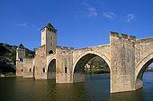 France, Lot, Quercy region ville de Cahors Pont de Valentré