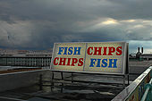 Sign for traditional Fish and Chips near Brighton Pier
