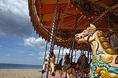 A traditional merry-gp-round on Brighton beach