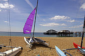 Brighton beach and the remains of the old West Pier (recently destroyed in a storm)