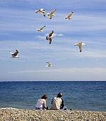 Couple on Brighton beach with sea gulls flying overhead