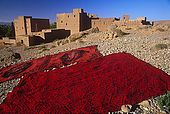 Carpets drying under the sun, Dades Valley, Morocco