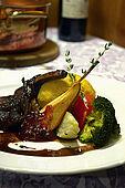 Lamb with polenta, pear and vegetables, Rifugio Fuciade, Trentino, Italy