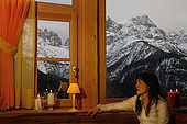 Chalet Hermitage Hotel, with spectacular view of Gruppo di Brenta, Madonna di Campiglio, Trentino, Italy. Tel 0465 441558