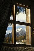 View from a bedroom window, Maso Doss, Pinzolo, Trentino, Italy. Tel 0465 502758