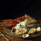 Oysters and a lobster on a plate