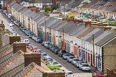 Wales, Blaenau Gwent, Cwm. Terrace houses in Cwm, near Ebbw Vale.