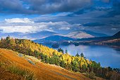 England, Cumbria, Derwent Water. An autumnal view over Derwent Water towards Skiddaw and Blencathra from near Cat Bells in the Lake District National Park.